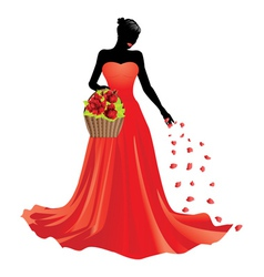 Girl and basket of roses2 vector image