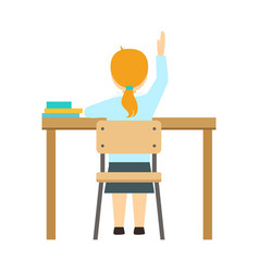 Girl raising the hand sitting at the desk in vector