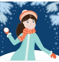 Girl with snowball4 vector