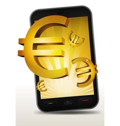 Golden euros inside smartphone vector