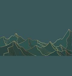 golden mountain line landscape wallpaper vector image