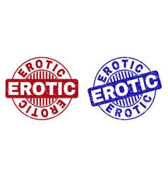 Grunge erotic textured round watermarks vector