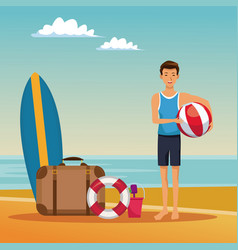 guy having fun at beach summer cartoons vector image