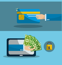 Hand with credit card and computer with bills vector