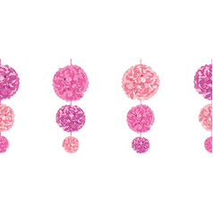 Hanging pink birthday party paper pom poms vector