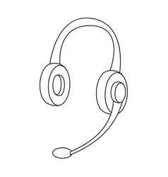 headphones icon in outline style isolated on white vector image