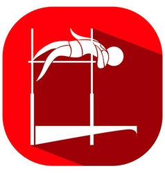 High jump icon on red background vector