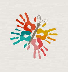 Human hand print butterfly shape art vector