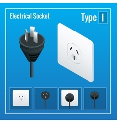 Isometric Switches and sockets set Type I AC vector