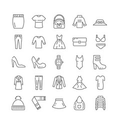 large set icons for female fashion accessories vector image