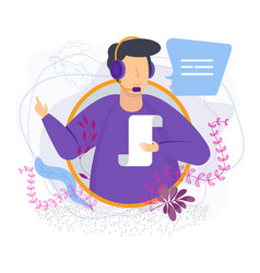 Man with headset sends a voice message vector
