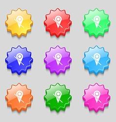 Map pointer icon sign symbols on nine wavy vector