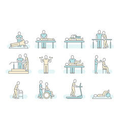 Massage therapy spa physiotherapy line vector