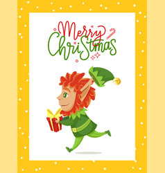 merry christmas greeting card elf carry box vector image
