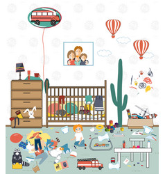 messy kids room vector image