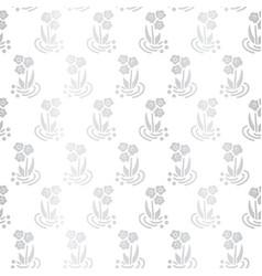 metallic silver foil folk flowers white background vector image