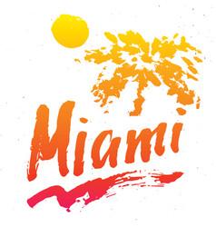 Miami calligraphy lettering handwritten sign hand vector