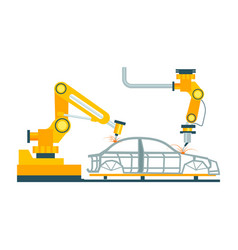 Modern robotic car manufacturing process vector