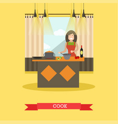Mother cooking in kitchen in vector