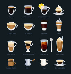 Mugs with different type coffee espresso vector