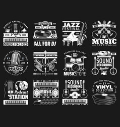 musical instruments microphone vinyl records vector image