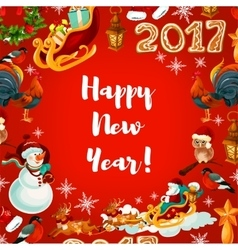 New Year festive poster design vector image