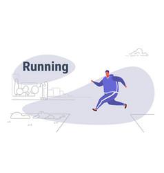 overweight man running outdoor urban park vector image