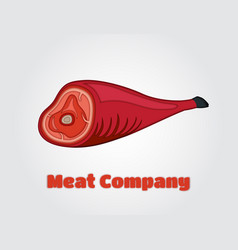 Paper cut meat hamon jamon in papercut vector