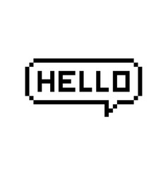 Pixel style text bubble chat hello vector