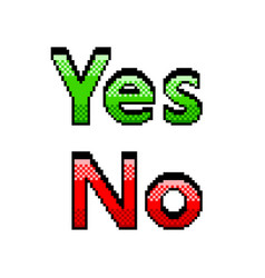 pixel yes no text detailed isolated vector image
