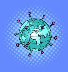 planet earth as a coronavirus epidemic sick vector image