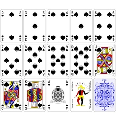 Poker cards spade set four color classic design vector