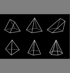 pyramids and prisms collection vector image