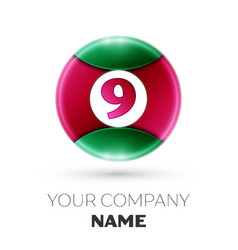 Realistic number nine symbol in colorful circle vector