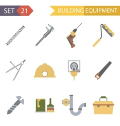 Retro Flat Building Equipment Icons and vector