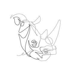 Rhino one continuous line graphic vector
