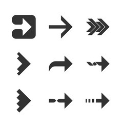 Right arrows glyph icons set forward curved vector