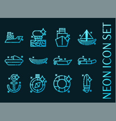 Sea transport set icons blue glowing neon style vector