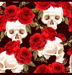 Seamless skulls and roses vector
