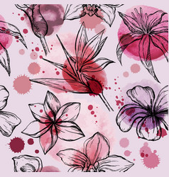 Seamless watercolor pattern with sketch flowers vector