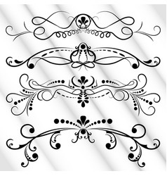 set black ornate page decor elements banners vector image