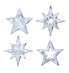 Set christmas silver stars luxury and glamour vector