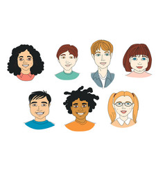 set kids diversity head portraits line drawing vector image