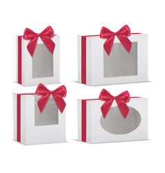 Set of empty gift boxes with red silk bows vector