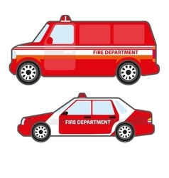 Set of red fire department car to help vector