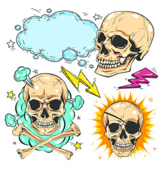 set skull comic style colorful icons vector image