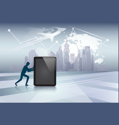 Silhouette business man pushing tablet computer vector