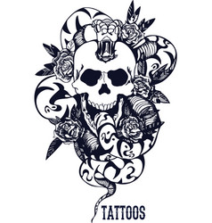 Skull with snake and five roses dark blue tattoo vector