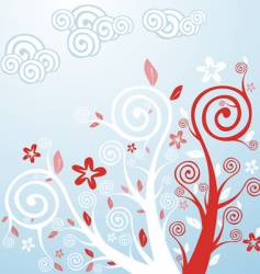 spring flowers and trees vector image