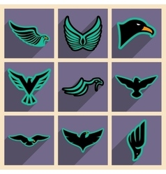 Stylish set of eagles vector